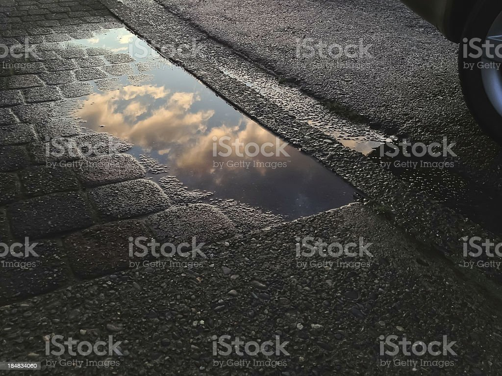 Urban sunset after rain royalty-free stock photo