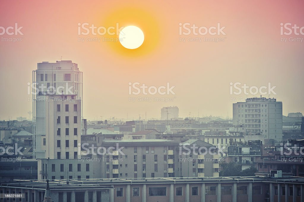 Urban sunset. stock photo