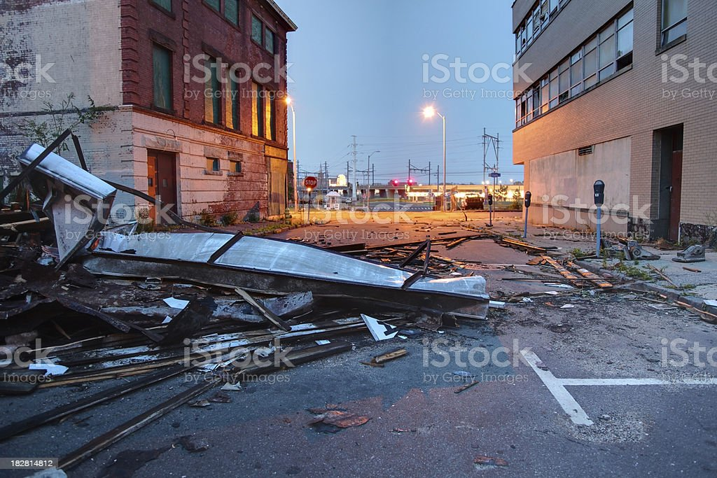 Urban Tornado Damage royalty-free stock photo