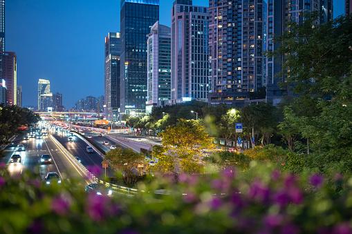 Urban traffic at dusk