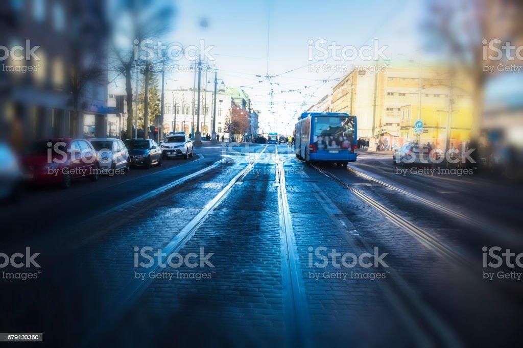 urban traffic, bus and tram photo libre de droits