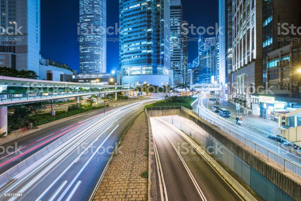 urban traffic in Hong Kong stock photo