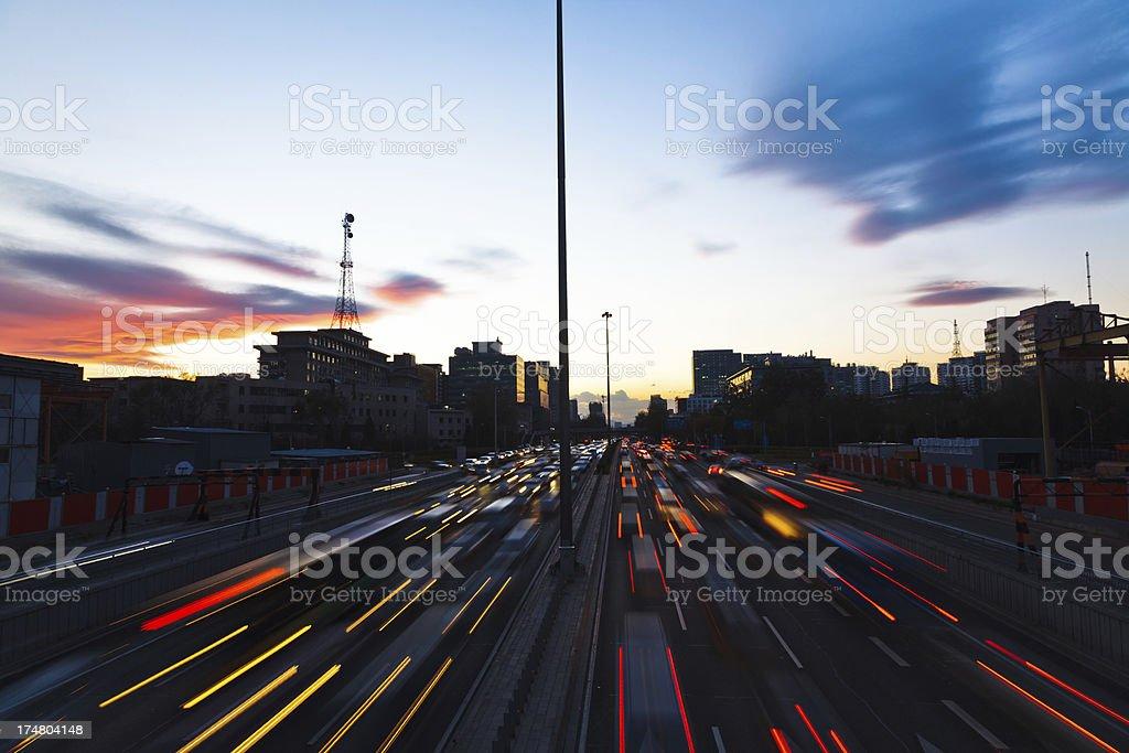 urban traffic jam in Beijing, China royalty-free stock photo