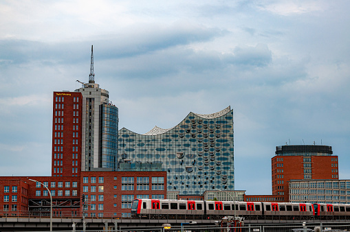 Urban view with modern office buildings in Hamburg business downtown