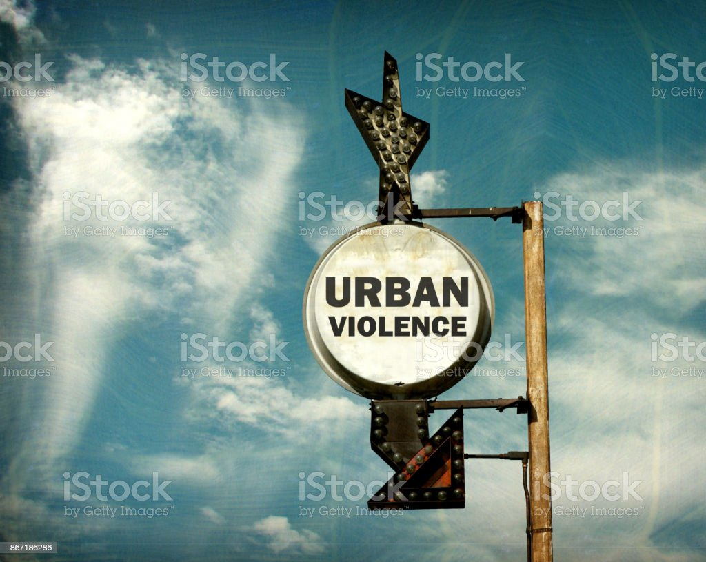 urban violence sign stock photo