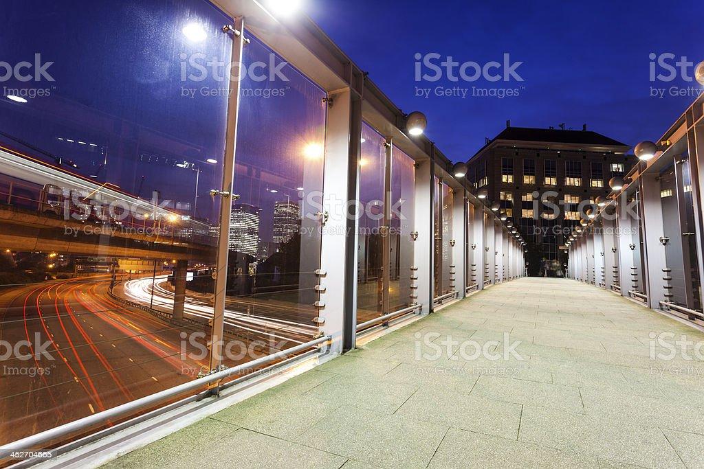 Urban Walkbridge Over Highway, London, UK stock photo
