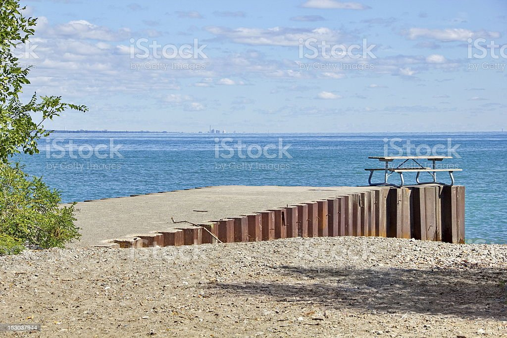 Urban Waterfront Picnic Table royalty-free stock photo