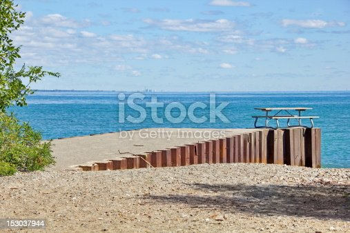 Urban Waterfront Picnic Table Stock Photo & More Pictures of Blue