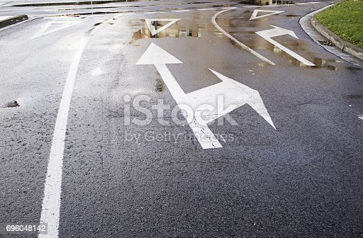 istock Urban wet road 696048142