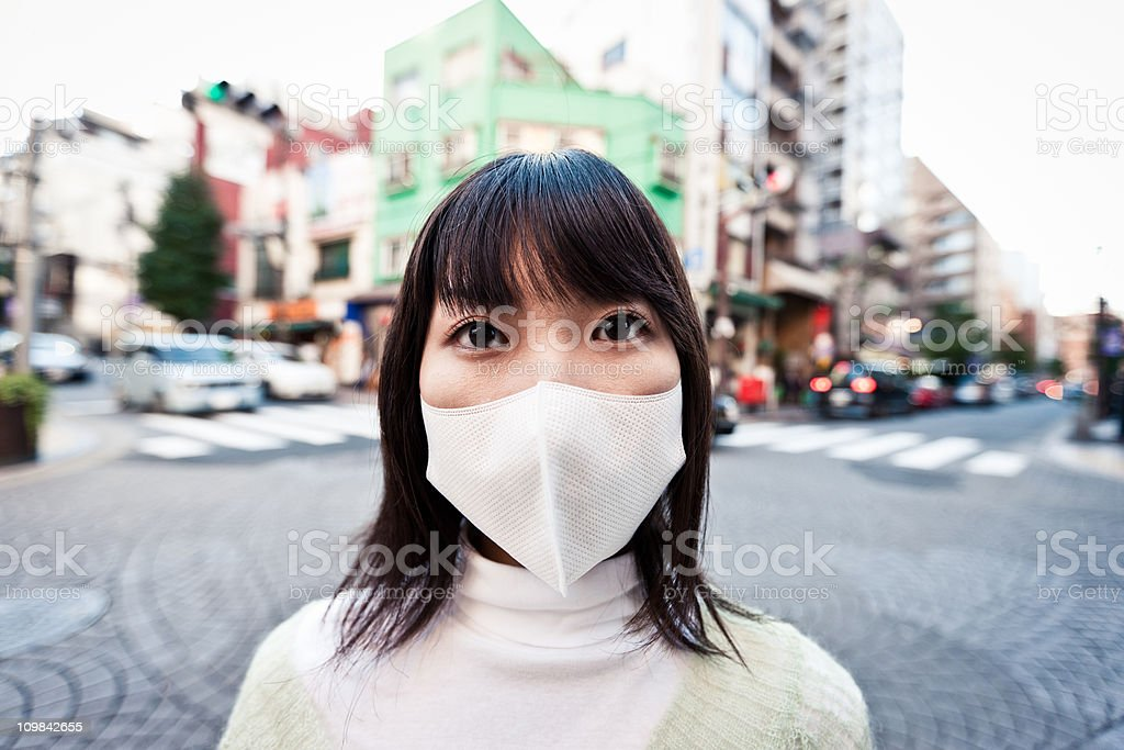 Urban Woman Respirator Mask royalty-free stock photo