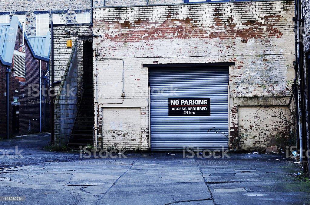 Urban work yard warning sign royalty-free stock photo