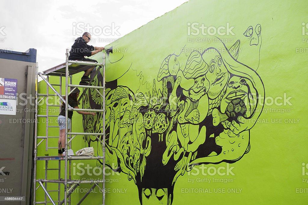 Urban Wynwood, Miami Green Wandgemälde Street Art Grafitti Gemälde – Foto