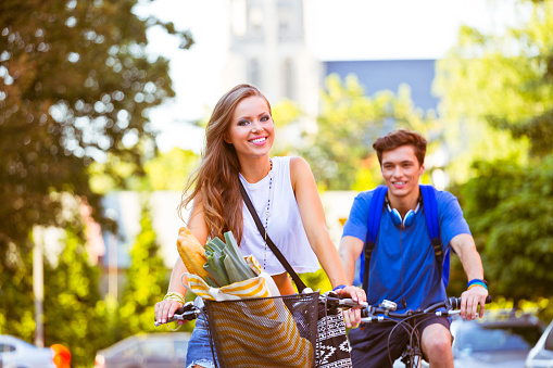 Urban Young People Cycling Stock Photo - Download Image Now