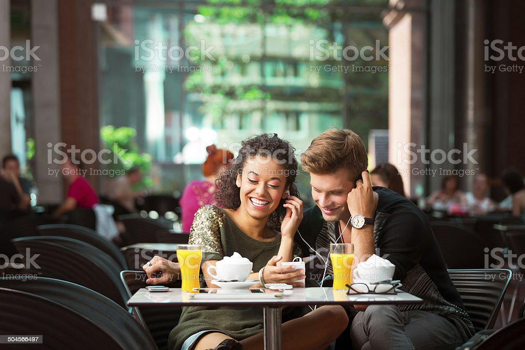 Urban young people in cafe royalty-free stock photo