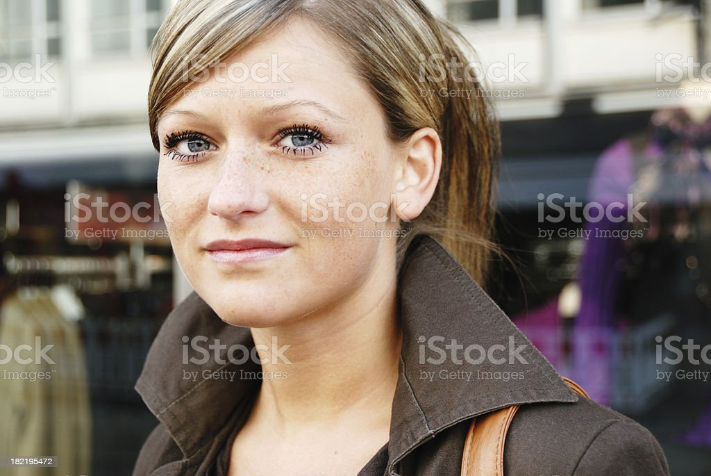 urban young woman portrait stock photo