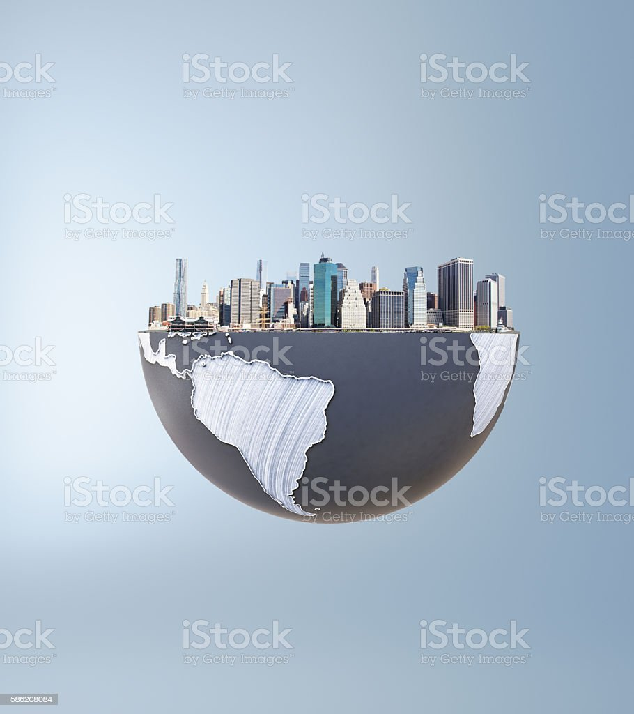 Urbanization concept globe and city stock photo