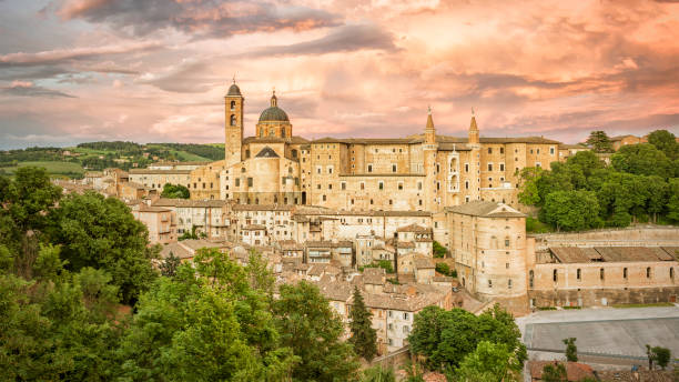 Urbino Marche Italy at evening time stock photo