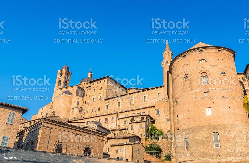 Urbino skyline with Ducal Palace, Italy stock photo