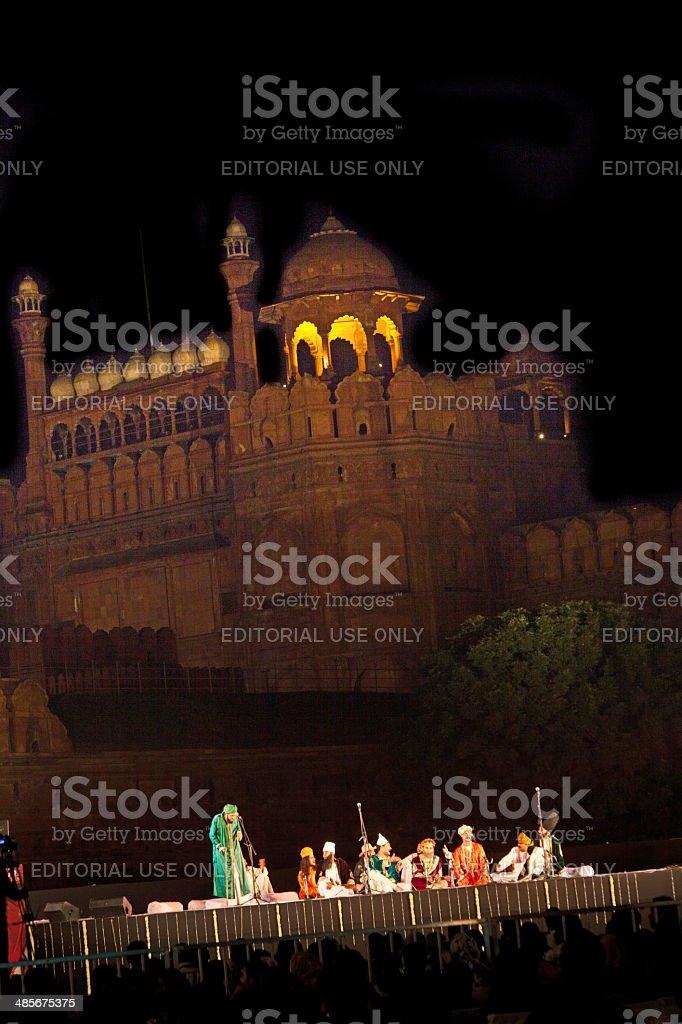 Urdu poetry in front of the red Fort in Delhi stock photo