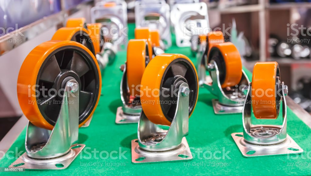 urethane on metal core wheel stock photo