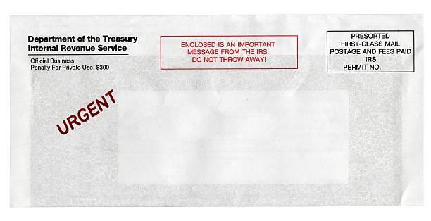 Urgent IRS Notice Envelope stock photo