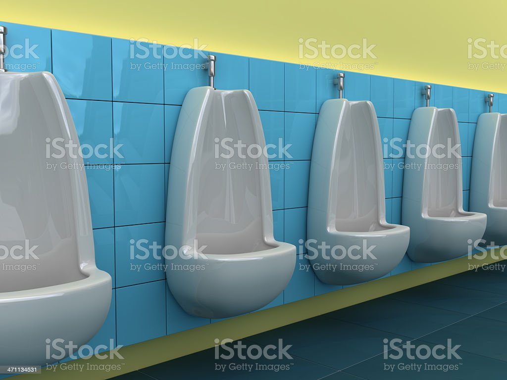 urinals in line stock photo