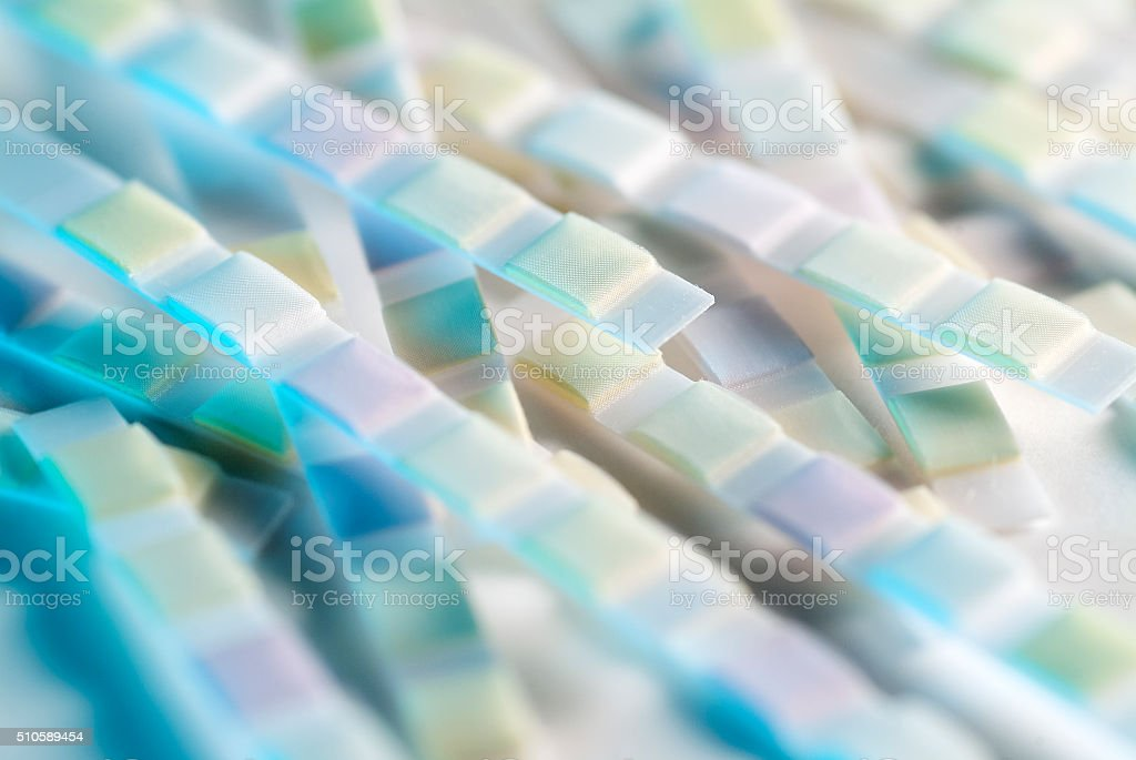 Urine analysis test strips close up stock photo