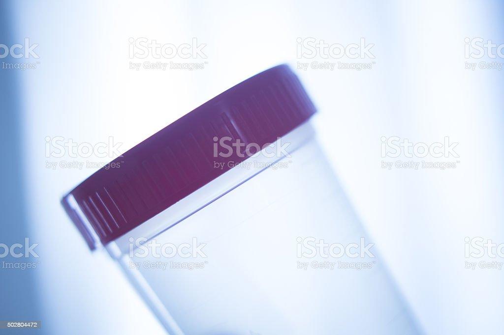 Urine sample plastic jar stock photo