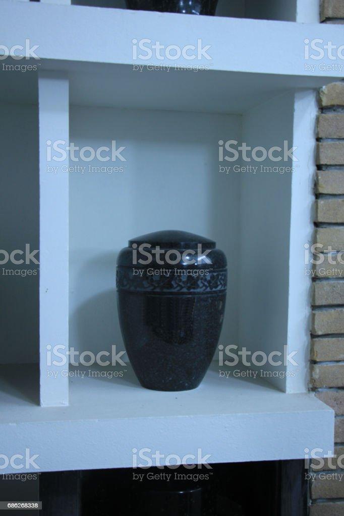 Urn in a columbarium stock photo