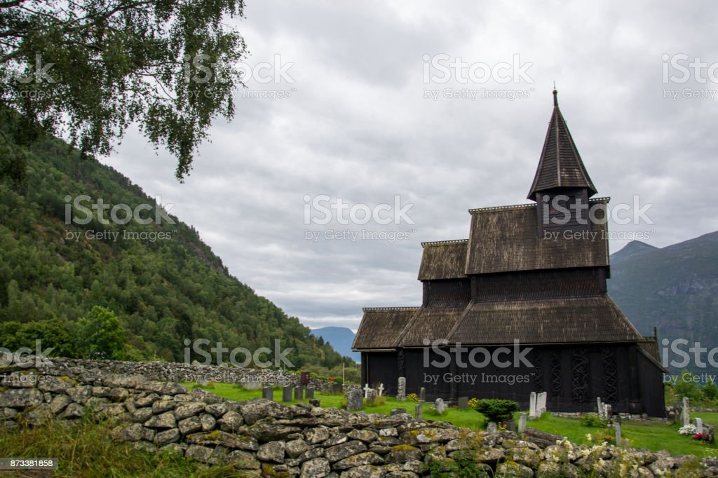 Urnes Stave Church, Ornes, Norway stock photo