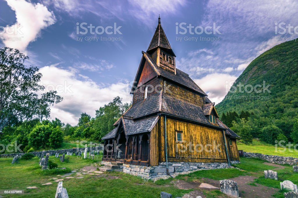 Urnes Stave Church, UNESCO site, in Ornes, Norway stock photo