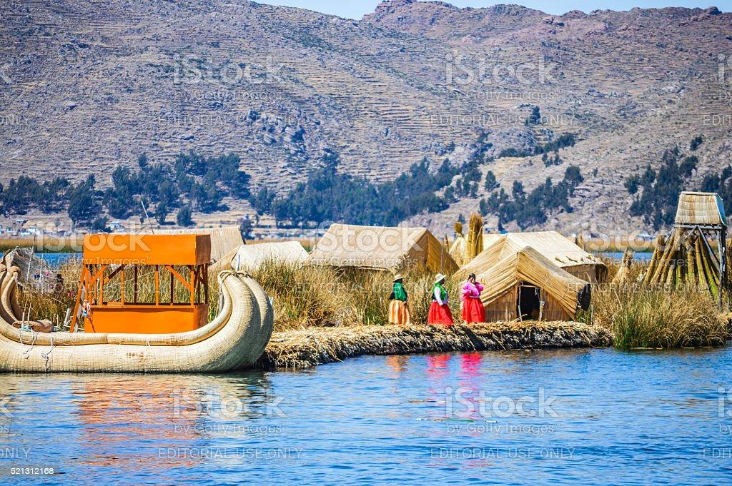 Uros Islands on Lake Titicaca in Peru stock photo