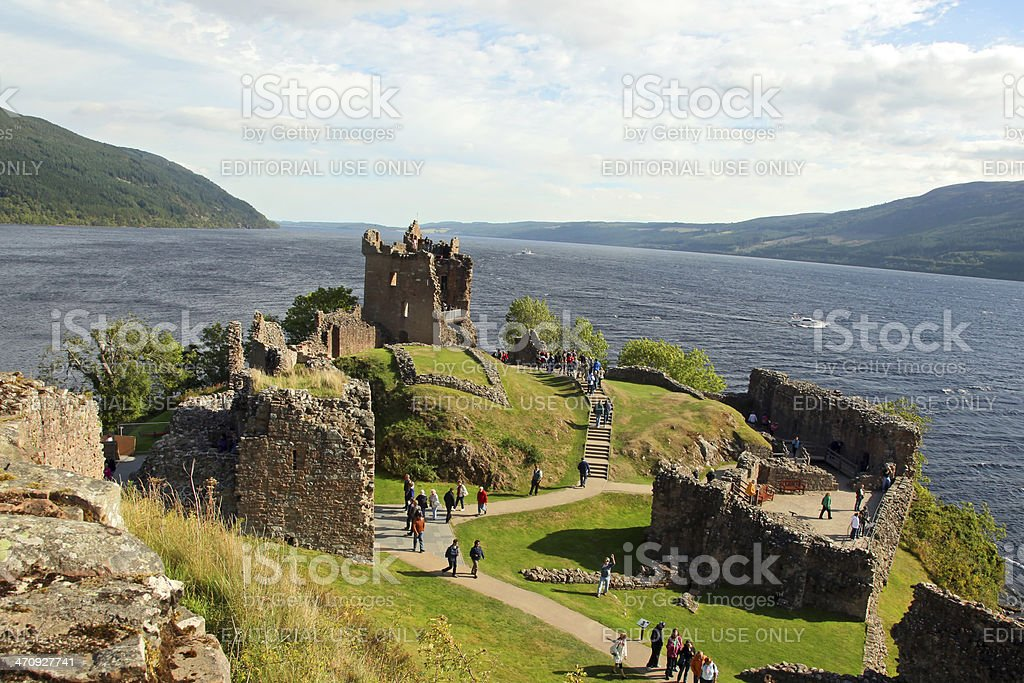 Urquhart Castle beside Loch Ness in Scotland, UK stock photo