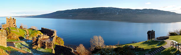 Urquhart Castle/Loch Ness Panorama picture of Urquhart Castle and Lochness in the background. Scotish Highlands. inverness scotland stock pictures, royalty-free photos & images