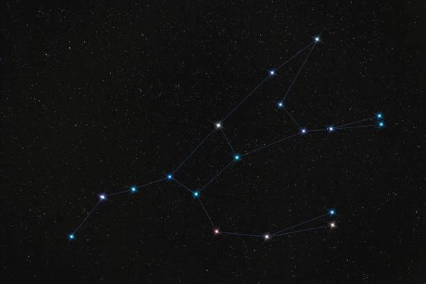 constellation de l'ourse, étoiles reliées par des traits contre le ciel de la nuit noire - grande ourse photos et images de collection