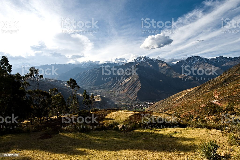 Urubamba Valley in Peru under dramatic sky royalty-free stock photo