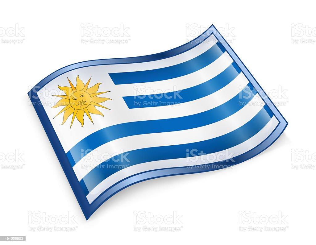 Uruguaian Flag icon, isolated on white background stock photo