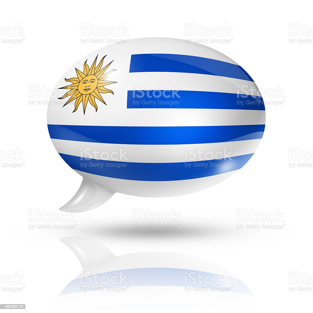 Uruguaian flag speech bubble stock photo