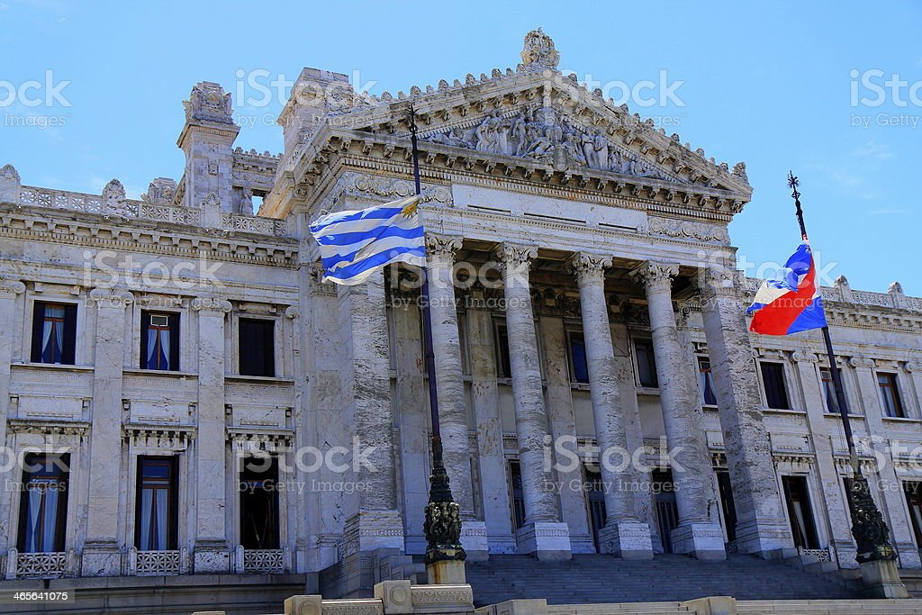 Uruguaian Parliament in Montevideo and flags, Uruguay stock photo