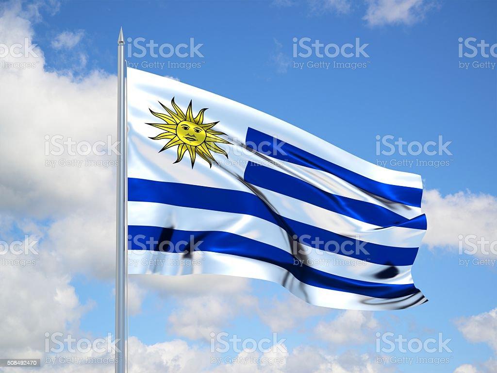 3D de bandera de Uruguay - foto de stock