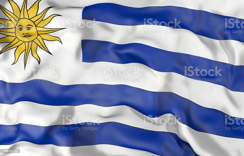Ilustración 3d de bandera de Uruguay - foto de stock