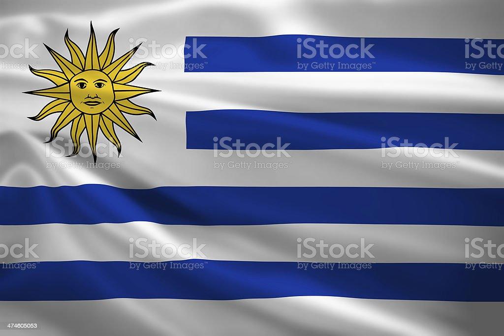 Bandera de Uruguay Soplando en el viento - foto de stock