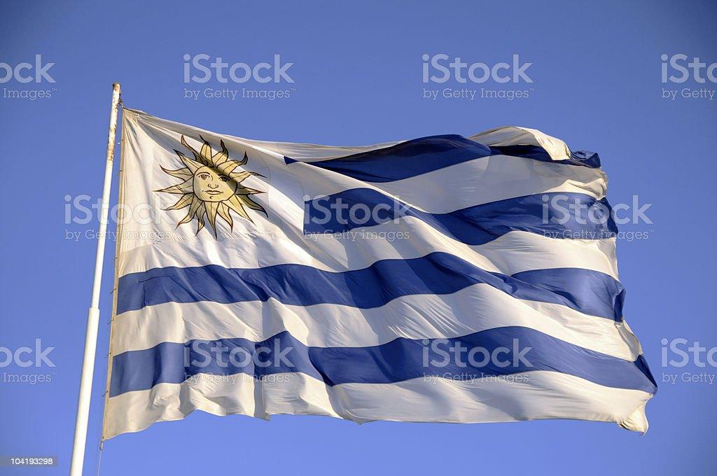 Bandera de Uruguay batiendo en el viento - foto de stock
