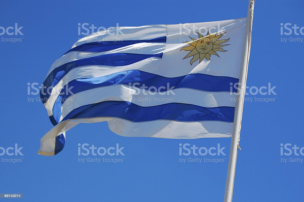 Uruguay flag flapping in the wind royalty-free stock photo