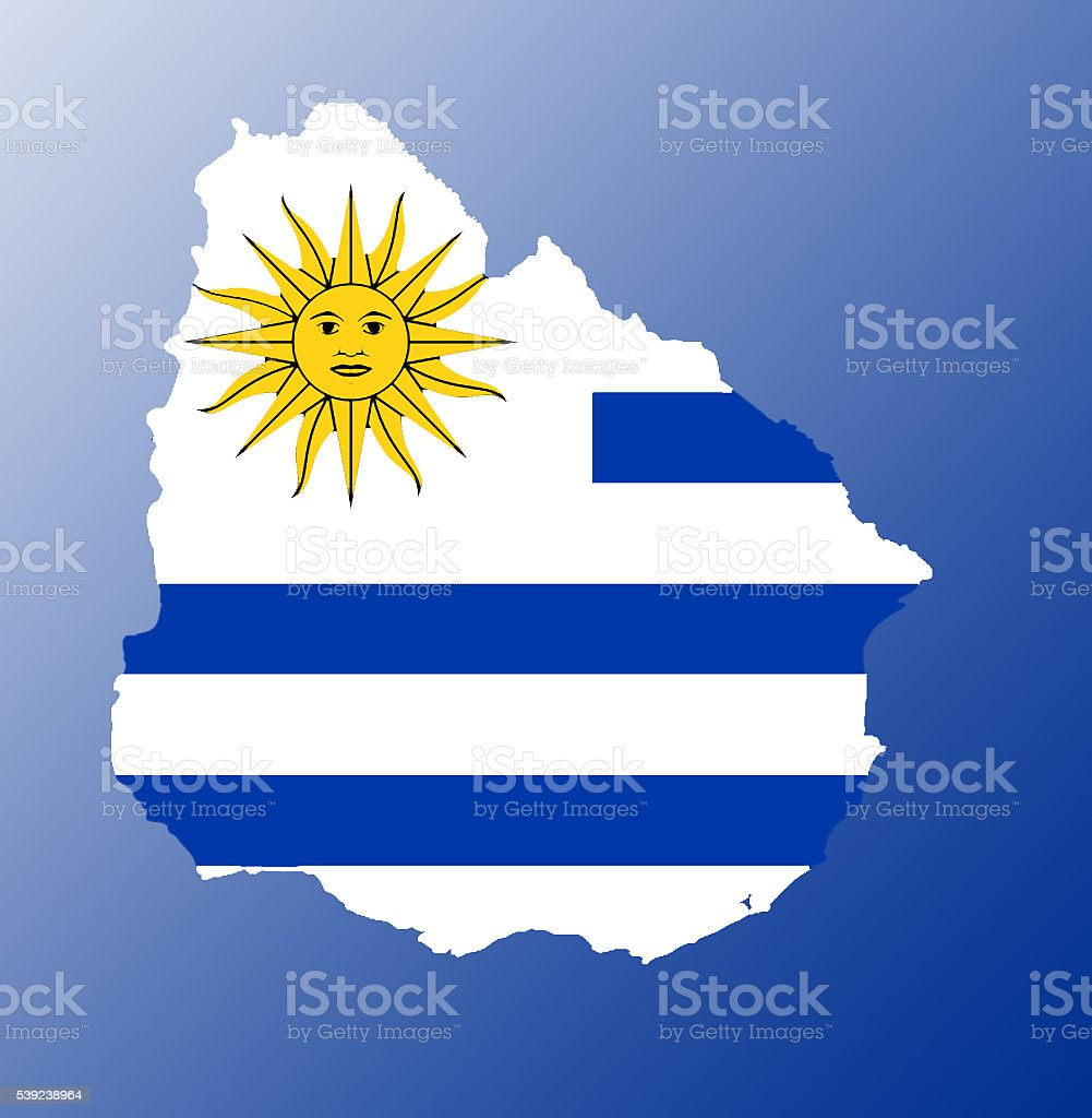 Uruguay flag map royalty-free stock photo