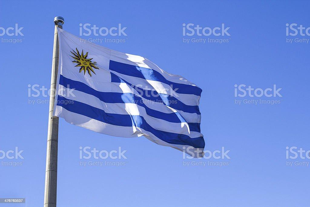 Bandera de Uruguay en un cielo de fondo azul claro - foto de stock