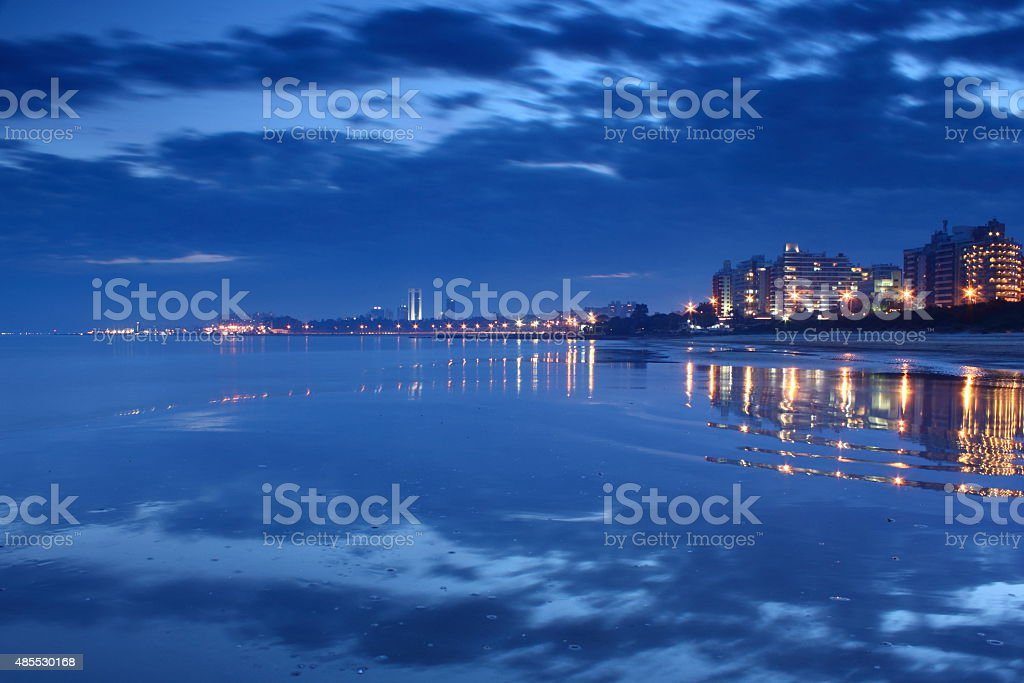 Uruguay, Montevideo, Playa Malvin, by night. stock photo