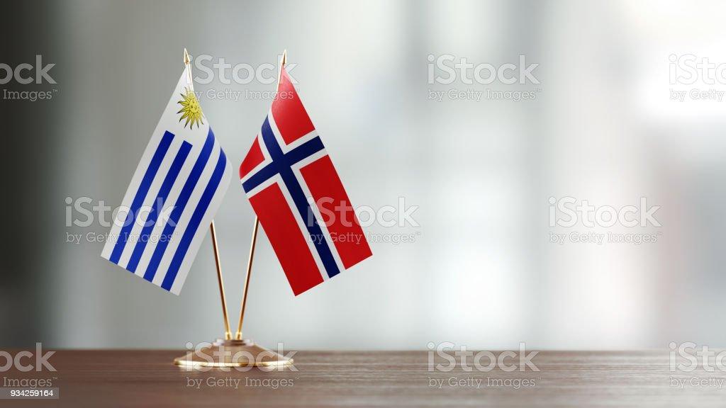 Par de la bandera uruguaya y noruego en un escritorio sobre fondo Defocused - foto de stock