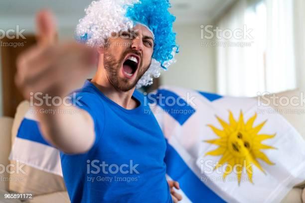 Uruguayan Fan Celebrating At Home - Fotografias de stock e mais imagens de Adulto