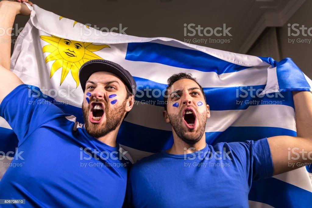 Fanáticos uruguayos sosteniendo la bandera nacional - foto de stock